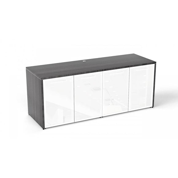 Chiarezza Credenza with White Glass Doors