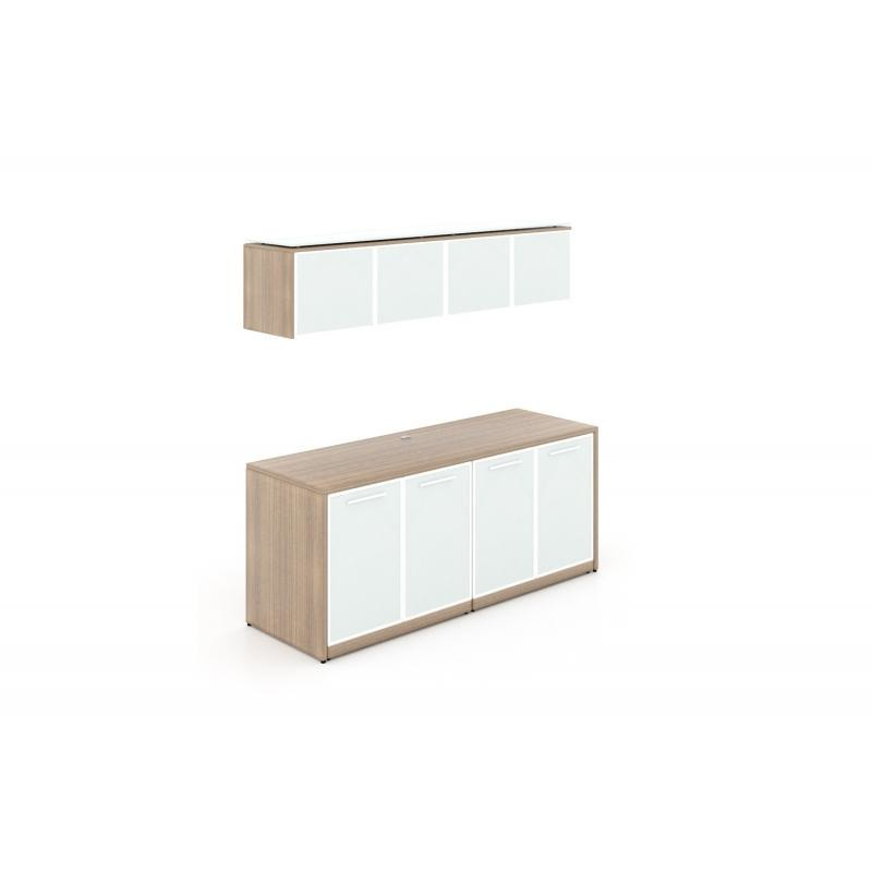 Chiarezza Credenza with White Glass Doors & Hutch