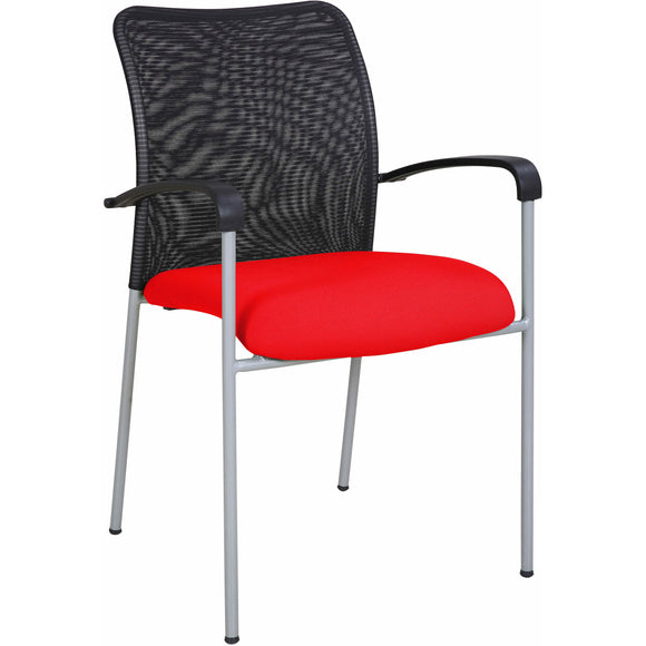 Weston Mesh Stackable Visitor Chair, Red