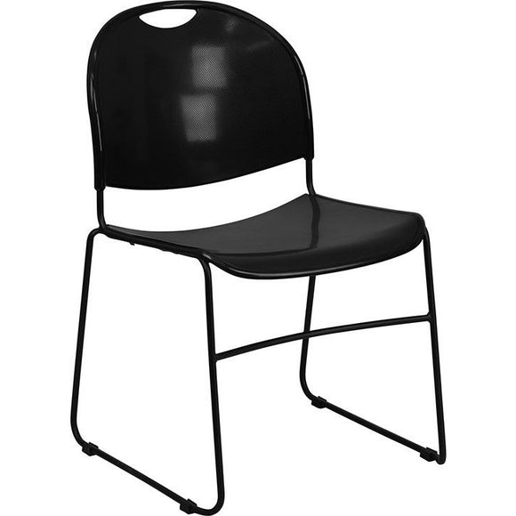Samson Series 880 lb. Capacity Black Ultra-Compact Stack Chair