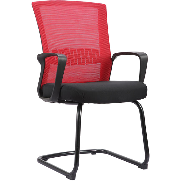 Haley II Ergonomic Mesh Visitor Sled Based Chair, Rouge Red