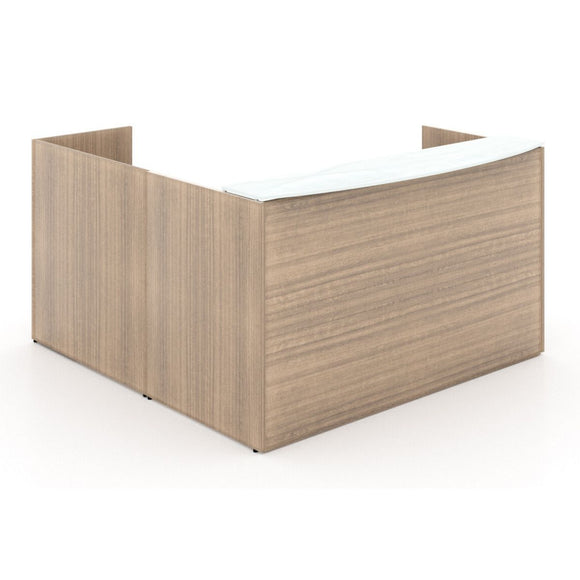 Chiarezza L-Shaped Reception Desk with Floated White Glass