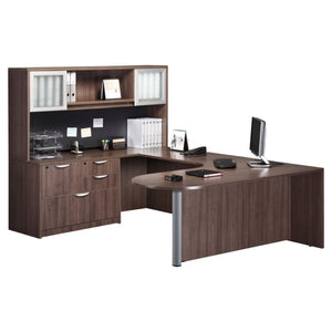 Empresario Executive Bullet U-Shaped Desk with Mixed File & Open Glass Door Hutch