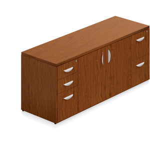 Porto Wood Veneer Storage Cabinet with Locking Pedestals