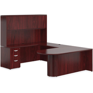 Porto Wood Veneer U-Shaped Bullet End Desk with Hutch