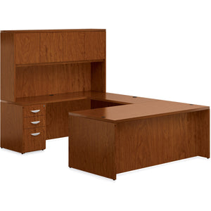 Porto Wood Veneer U-Shaped Desk with Hutch