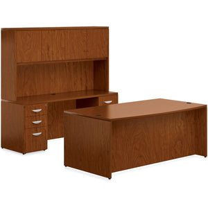 Porto Wood Veneer Suite with Bow Front Desk and Hutch