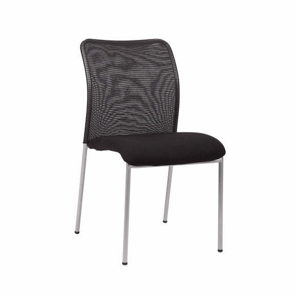 Weston Stackable Armless Visitor Chair, Mesh Back/Fabric Seat, Black