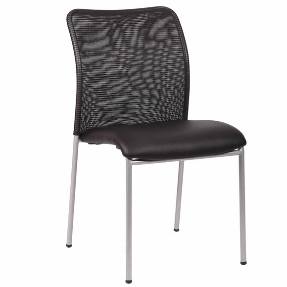 Weston Stackable Armless Visitor Chair, Mesh Back/Vinyl Seat, Black