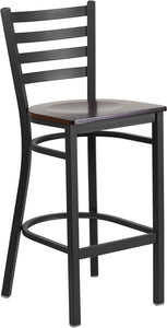 Samson Series Black Ladder Back Metal Barstool