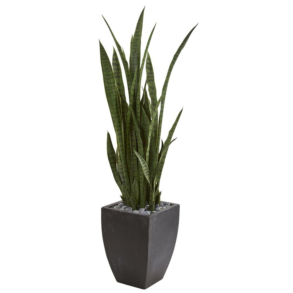 4.5' Sansevieria Artificial Plant in Black Planter