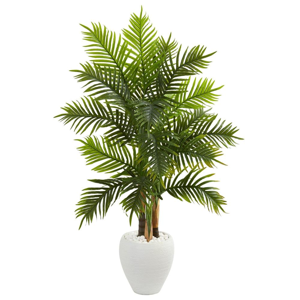 5' Areca Palm Artificial Tree in White Planter (Real Touch)