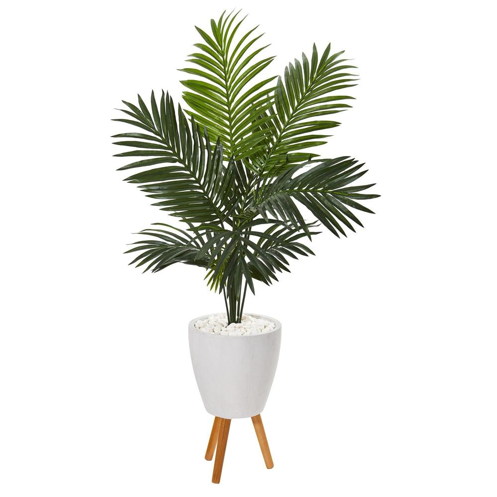 "61"" Paradise Artificial Palm Tree in White Pot with Stand"