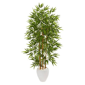 "63"" Bamboo Artificial Tree in White Planter"