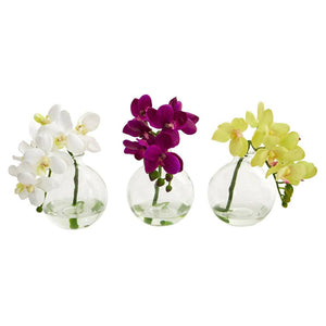 "9"" Phalaenopsis Orchid Artificial Arrangement in Vase, Set of 3"