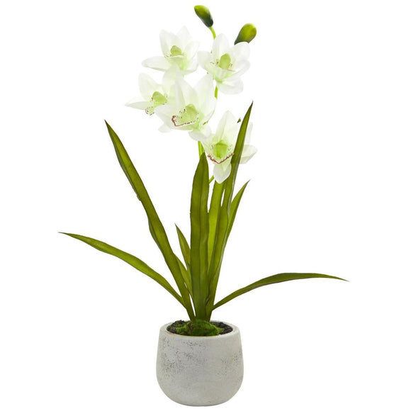Cymbidium Orchid Artificial Arrangement in Vase
