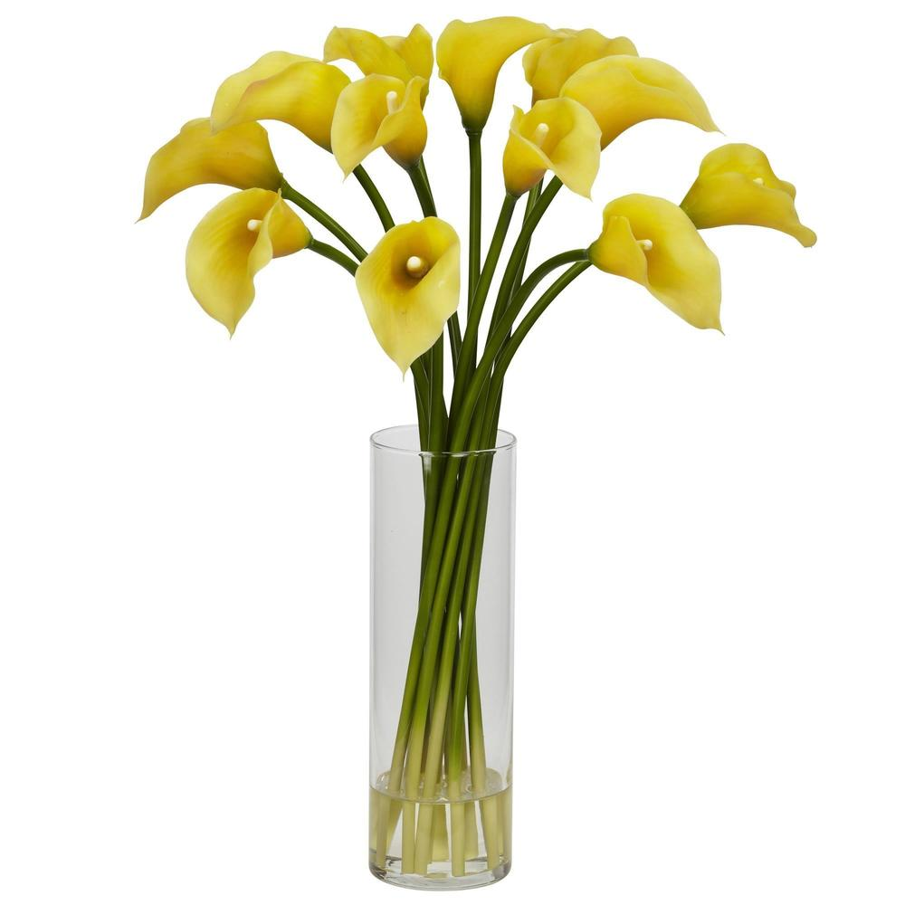 Mini Calla Lilly Silk Flower Arrangement in Glass Cylinder Vase