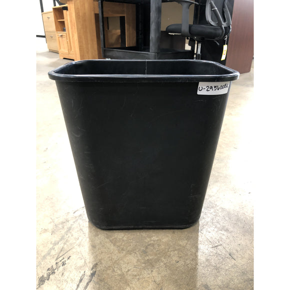 Pre-Owned, Commercial Deskside Plastic Wastebasket, 7 gal, Black