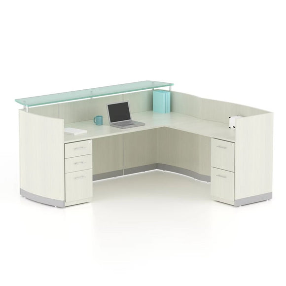 Neo L-Shaped Reception Desk With Pedestals