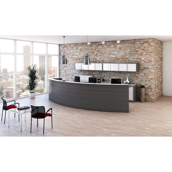Chiarezza Large Curved Reception Desk with White Glass Transactional Top