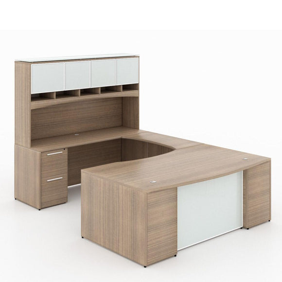 Chiarezza Bow Front Executive U-Shaped Desk with Overhead Hutch and White Glass Accents