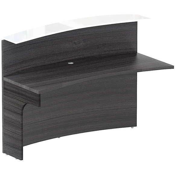 Chiarezza Curved Reception Desk Shell Extension with White Glass Transactional Top