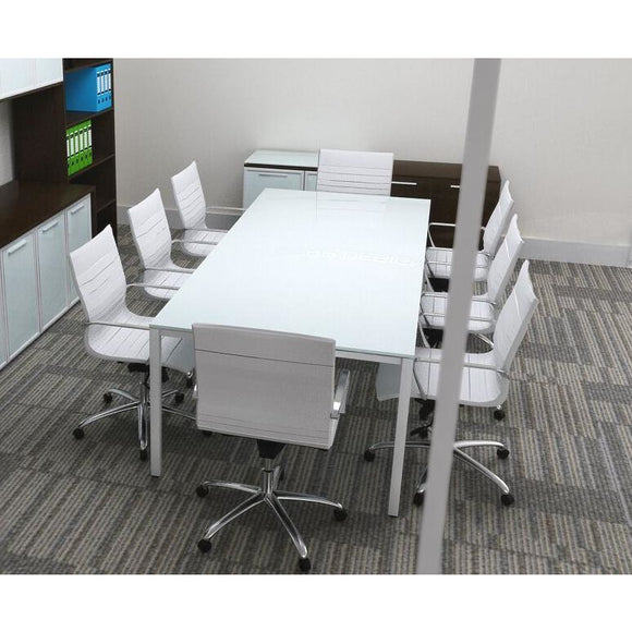 Visione Rectangular White Glass Conference Table