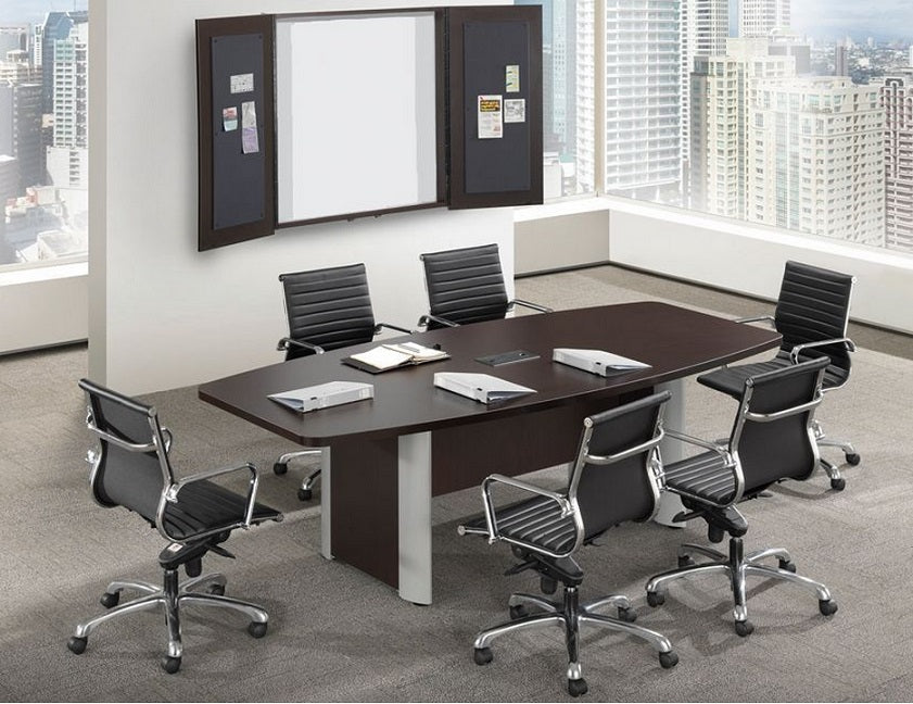 Empresario Boat Shaped Laminate Conference Table with Elliptical Style Bases