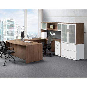Empresario Executive U-Shaped Desk with Glass Door Hutch and Storage Cabinets