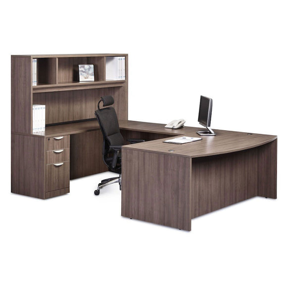 Empresario U-Shaped Bow Front Desk Workstation with Open Hutch