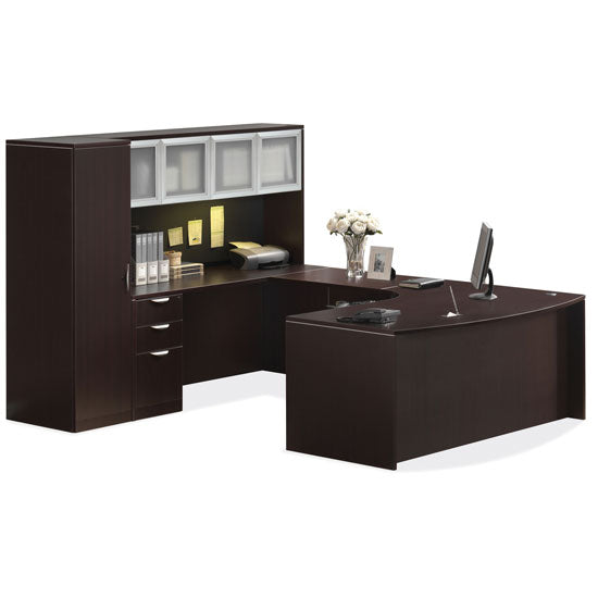 Empresario U-Shaped Bow Front Desk Workstation with Double Glass Doors Hutch and Personal Unit