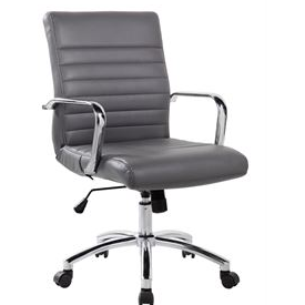 RealBiz Modern Comfort Series Mid-Back Bonded Leather Chair, Titanium Gray