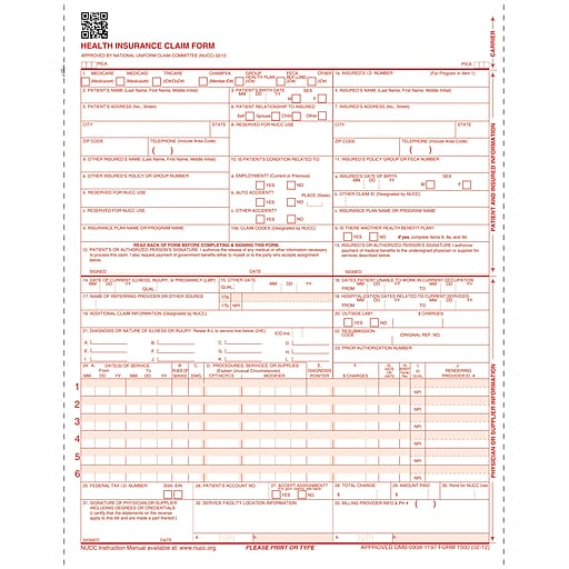 CMS-1500 Health Insurance Claim Forms