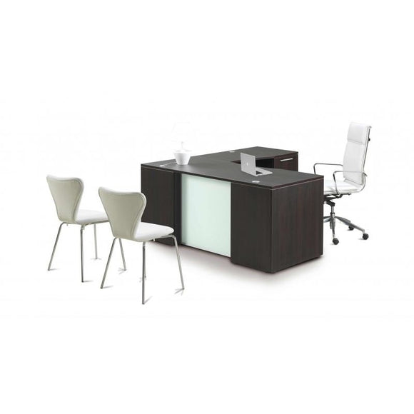 Chiarezza L-Shaped Desk with Glass Modesty Panel