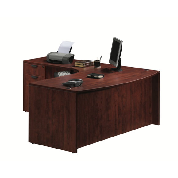 Empresario L-Shaped Bow Front Desk Workstation