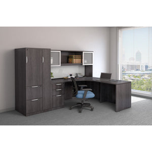 Empresario L-Shaped Desk with Glass Door Hutch and Storage Cabinet