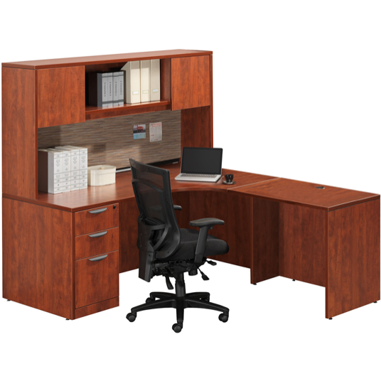 Empresario Business L-Shaped Desk Workstation with Hutch