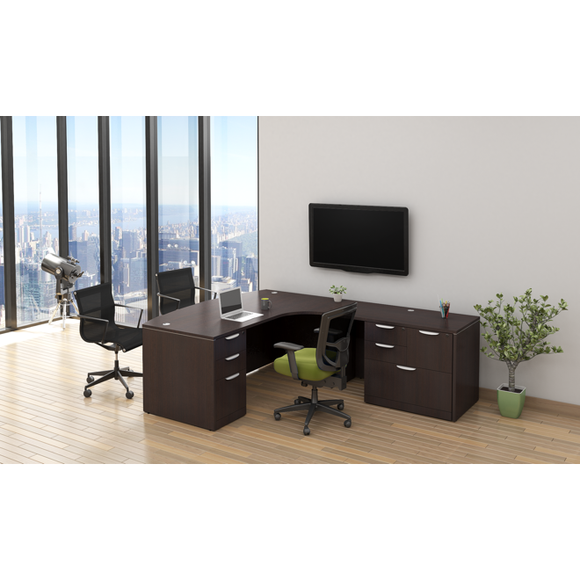 Empresario Executive Bow Front L-Shaped Desk with Mixed File and Box/Box/File Pedestal