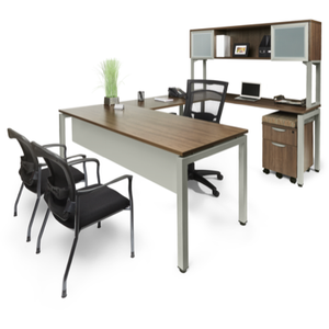 Lucid U-Shaped Desk with Open Overhead Storage