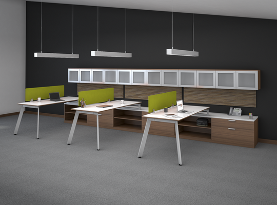 Lucid Shared Work Space with Credenzas, Dividers, and Hutches