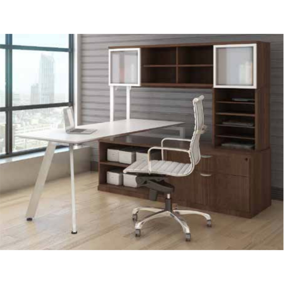 Lucid Desk with Open Overhead Storage