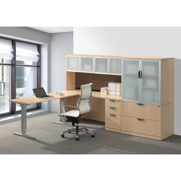 Lucid Adjustable Height Desk With Hutch