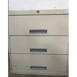 "Pre-Owned 3 Drawer 36"" wide File Cabinet, Putty"