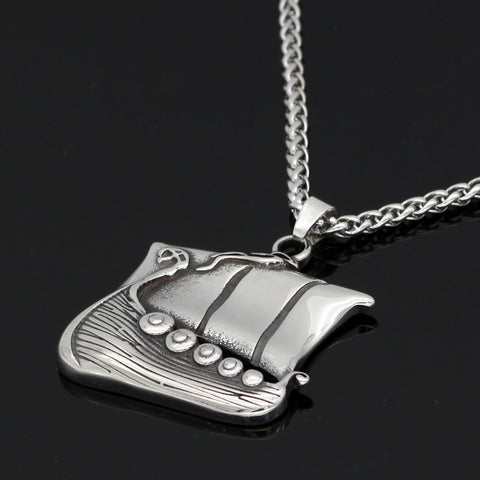 Image of drakkar ship stainless steel necklace