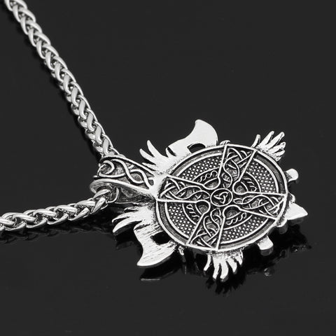 Image of odin face with axe amulet Nordic necklace