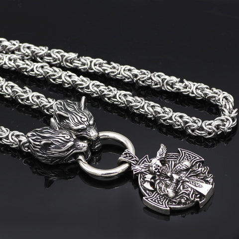 Image of wolf head horns necklace