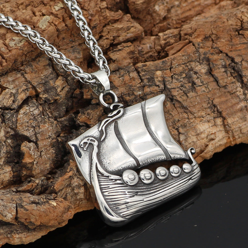 drakkar ship stainless steel necklace