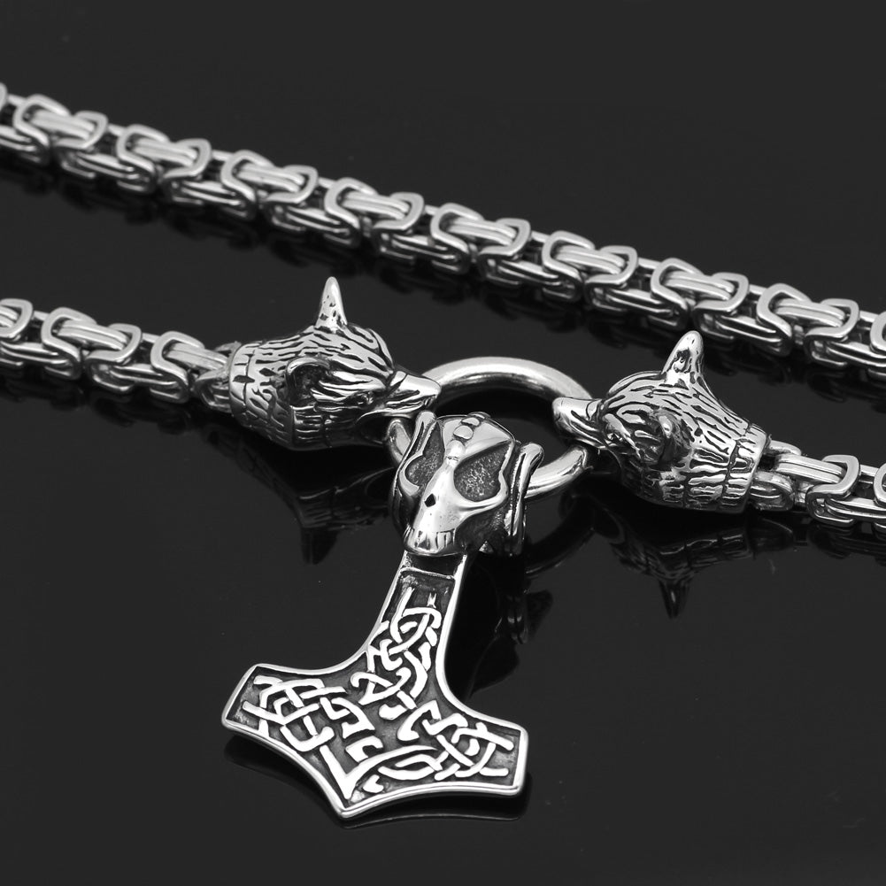 wolf head with thor hammer necklace