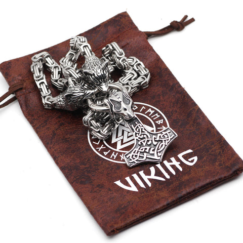 Image of wolf head with thor hammer necklace