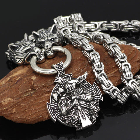 Image of mens viking odin wolf head necklace